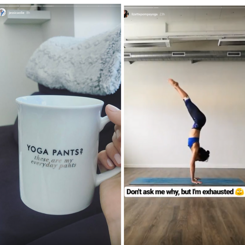 Yoga Teachers (L) @jessicaolie and (R) @lizettepompayoga share snippets from their daily lives on Instagram Stories